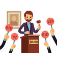 auction with man holding gavel and people raised vector image vector image