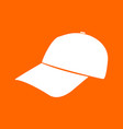 baseball cap white icon vector image vector image