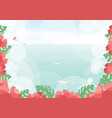 beautiful ocean beach with hibiscus flower summer vector image