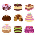 birthday party tasty cakes anniversary vector image vector image