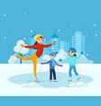 boy and girl ride on ice mom shows master class vector image vector image