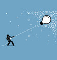 businessman pulling a flying floating light bulb vector image