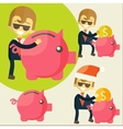 Businessman saves money in Piggy bank vector image