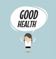 businesswoman standing with good health word vector image