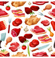 butcher shop farm meat products pattern vector image vector image