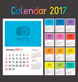 Calendar Planner for 2017 vector image vector image