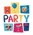 Celebration party poster with shiny confetti vector image