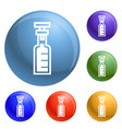 chemical glass bottle icons set vector image