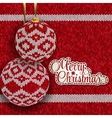 Christmas greeting card with red knitted balls vector image vector image