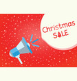 christmas sale red background with megaphone vector image vector image