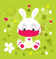 corona virus easter with bunny and face mask - vec vector image