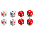 cube with card diamond in red and white colors vector image