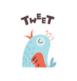cute cartoon little bird tweeting vector image