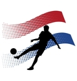 czech soccer player against national flag vector image vector image