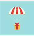 delivery concept with parachute flat design vector image