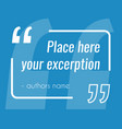 empty blue quote text box design element vector image