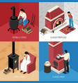 fire place isometric design concept vector image
