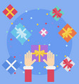 flat style festive holiday present boxes vector image