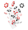 flying realistic or 3d casino chips and aces cards vector image vector image