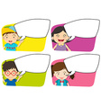 Four designs of board template and kids vector image vector image