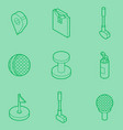golf outline isometric set vector image vector image
