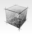 Hand drawn isolated cube vector image
