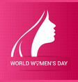 happy womens day card with pink pattern background vector image