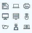 hardware outline icons set collection of file vector image vector image