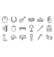horseback riding gear icon set outline style vector image vector image