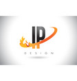ip i p letter logo with fire flames design and vector image vector image