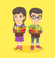 kids holding basket with fruit and vegetables vector image