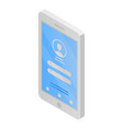 login on smartphone icon isometric style vector image vector image