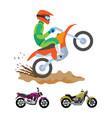 motorbike riding hobman wearing safety helmet vector image