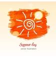 Orabge watercolor splash with picure sun vector image vector image
