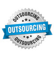 outsourcing round isolated silver badge vector image vector image