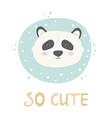 panda hand drawn face character vector image vector image