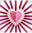 pencils in shape heart vector image vector image