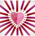 Pencils in the shape of heart vector image vector image