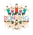 people running marathon runner with text running vector image vector image