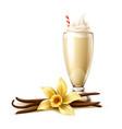 realistic vanilla milkshake in glass flower vector image