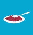 red bean porridge in plate and spoon isolated vector image