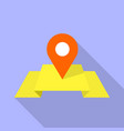red pin on yellow map icon flat style vector image