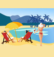 relax on beach drawing a dream people at sea vector image vector image
