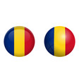 romania flag under 3d dome button and on glossy vector image vector image