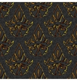 seamless floral damask black gold background vector image vector image