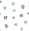 seamless pattern paws and hearts vector image vector image