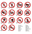 set of typical food alergens prohibitions for vector image vector image
