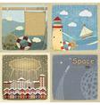 Set of vintage postcards vector image vector image