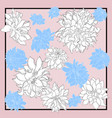silk scarf with dahlia flowers blooming white vector image vector image