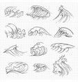sketch of expressive ocean waves vector image vector image